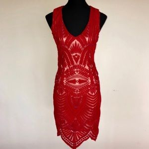Bardot Revolve Sexy Red Lace Dress Bodicon NWT